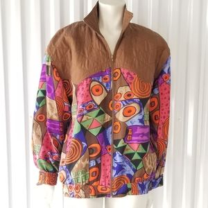 Vintage Oleg Cassini Silk Abstract Print Jacket